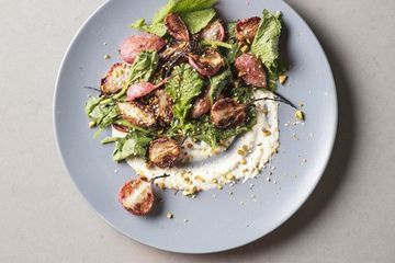 Roasted radishes with yogurt-tahini from Cook's Illustrated new veggie cookbook
