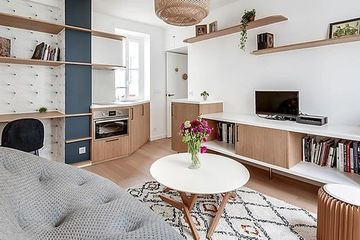 Compact 322 sq. ft. studio apartment transformed for art student
